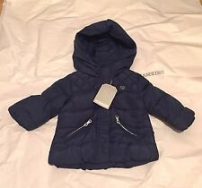ZARA Baby Girls' Quilted Jacket with Hood Navy 3-6 months BNWT