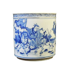 Chinese Blue & White Porcelain Warfield Brush Holder Pot cs1733