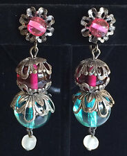Vintage Miriam Haskell Dangle Earrings~Glass Beads/Antiqued Silver Tone~Signed