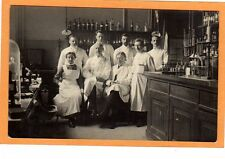 Real Photo Postcard RPPC - Men & Woman in Chemistry or Pharmaceutical Laboratory
