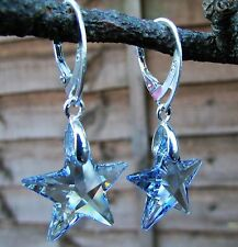 925 STERLING SILVER EARRINGS WITH SWAROVSKI ELEMENTS- CRYSTAL BLUE S 20mm STAR