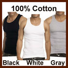 TOP 100% COTTON MENS TANK TOP A-SHIRT WIFE BEATER RIBBED BLACK WHITE GRAY S-2XL