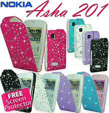 DIAMOND BLING SPARKLY PU LEATHER FLIP CASE COVER POUCH FOR MANY MOBILE PHONES
