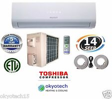 12000 BTU 115V 14 SEER Ductless Mini Split Air Conditioner 17' Full Install Set