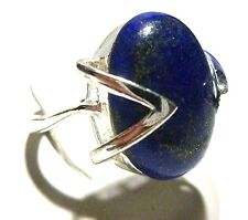 LARGE 20mm LAPIS LAZULI STERLING SILVER WOMENS ESTATE RING BAND SIZE 9