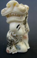 Estate Japanese ivory colored bone Netsuke-Chinese Boy does Lion/Dragon Dance