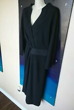 SALVATORE FERRAGAMO Black Wool and Silk Dress, Size 12, L, Large US, 48 Italy