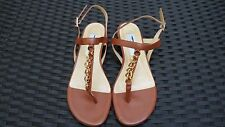 Saks Fifth Avenue Chain Link T-Strap Brown Leather Flat Sandals Sz 7.5