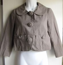 MARC JACOBS BEIGE GRAY PIN STRIPED PETER PAN COLLAR CROP BLAZER JACKET SZ 2