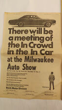 VTG 1967 Buick Wildcat Milwaukee Journal Newspaper Auto Show Ad FULL PAGE