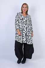 Chalona: stylishes Tunika Shirt 3/4 Arm Schrift-Druck A-Linie Viskose 44 - 54