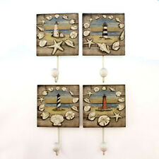 Set of 4 Lighthouse Seashell Towel Coat Wall Hook Hanger Nautical Beach Decor
