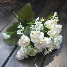 Bouquet Artificial Rose Silk Flower 15-Heads Flowers 5 Branches Plastic Leaves