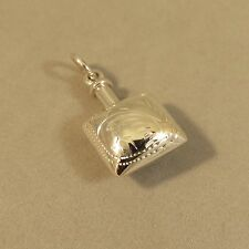 .925 Sterling Silver SQUARE Etched BOTTLE Pendant Perfume Poison Urn 925 BT11