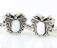 2pc Silver white butterfly Charm Beads Fit European Charm Bracelet Pendant V#418