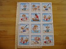 Beach Babies Sand Castle Kittens Boat  Cotton Quilt Fabric Panel Blocks (12)