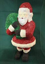 Vintage Standing Santa Paper Mache with Green Toy Sack and Sparkles 14""
