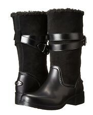 Coach Zena Cold Weather Snow Motorcycle Suede/Rubber/Shearling Boot Black 6 Nib
