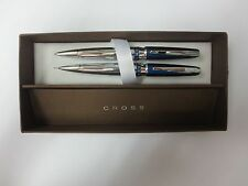 Cross AT0511-5 Sydney Collection Blue Chrome Ballpoint Pen and 0.7mm Pencil