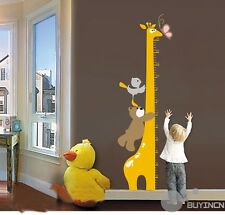 Removable Wall Stickers bear height baby nursery kids room decor decals mural