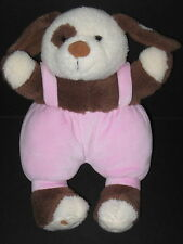 """Amscan Baby The Little Dog Brown White Pink Pants Overalls Plush Stuffed Toy 11"""""""
