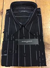 Guide London Embroidered Shirt/Black - Large Slim Fit. WAS £45.00, NOW £20.00