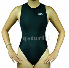 Women Ladies Endurance Hi-Neck Zip-Up Hydrasuit Water Polo Swimsuit Size 36  2XL