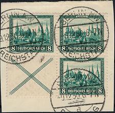 1930, gestempelter 4er-Block Nothilfe aus Heftchenblatt 68