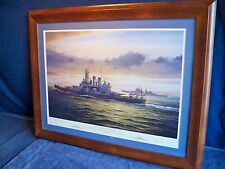 "FRAMED MILITARY NAVAL WORLD WAR II  ART PRINT ""ARCTIC GUARDIAN""  BY A. SAUNDERS"