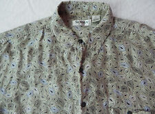 Psychedelic Silk Short Sleeve Casual Shirt Beige Geometric Leaf Mens Large Summa