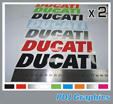 2 x DUCATI Vinyl Decals / Stickers - ANY COLOUR - Bellypan / Tank / Swingarm etc