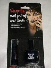 Halloween Costume Black Vampire Nail Polish Lip Stick Theater Prop Stage Makeup