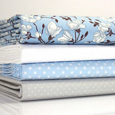 4 x FQ BUNDLE - MAGNOLIA BLUE FLORAL 100% COTTON POPLIN FABRIC dot grey white