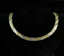 """Vintage Sterling Silver 925 - 7 mm Gold Accent Riccio Chain 29g - Necklace 16"""""""