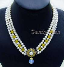 """6-7mm Round Natural White FW pearl & Yellow jade 3 strands 18-19"""" necklace-n6105"""