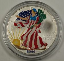 2000 American Silver Eagle UNC (ASE) 999 Fine Beautifully Colorized Coin Obverse