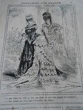 Caricature 1875 Carnaval Masque femme avec un éventail