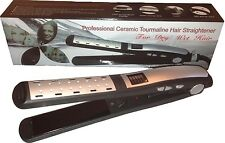 Hair Flat Iron Professional Ceramic Tourmaline Plates Style Wet/Dry-Color Silver