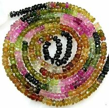 "ALL NATURAL MULTI TOURMALINE FACETED RONDELLE BEADS 14"" 3mm  T16"