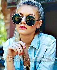 Oversized Big Round Circle Silver Metal Frame Boho Festival Bohemian Sunglasses