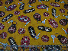 3 Yards Quilt Cotton Fabric- QT Classic Indian Motorcycles Keys Keychains Gold