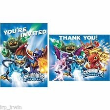 2X  Kid's SKYLANDERS BIRTHDAY PARTY INVITATIONS & THANK-YOU POST CARDS 16