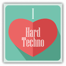 "I Love Hard Techno Heart Music Car Bumper Sticker Decal 5"" x 5"""
