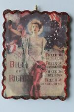 Lady Liberty & Bill of Rights * Patriotic Ornament * Vintage Card Image* Glitter