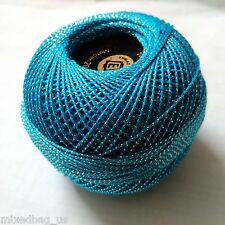 Turquoise & Silver Lurex - 20 gm Cotton Yarn Thread- Crochet Embroidery Knitting