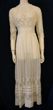 Vintage Downton Abbey Wedding Dress Edwardian Tea Ivory Cotton Lace XS Small