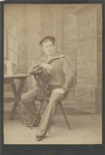 PHOTO OF ACTOR ADOLF SONNENTHAL IN SAILOR COSTUME W/ PIPE   ORNATE CHAIR
