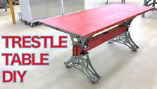 Hand made Industrial Trestle Dining (Kitchen) Table - Steel Base Pre-Welded