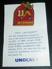 Jim Everett 1989 Los Angeles Rams Record Unocal 76 Commemorative Lapel Pin Card