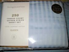 **LIVING QUARTERS LIGHT BLUE SATEEN STRIPE QUEEN SHEET SET** New in Package